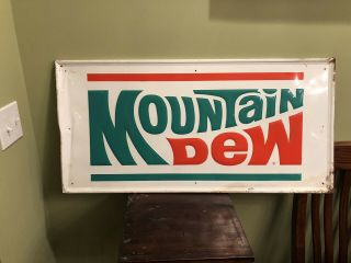 "Vintage Mountain Dew Soda Pop Gas Station 35 "" Embossed Metal Sign"