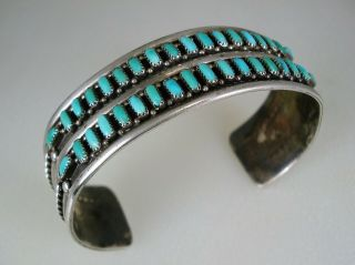 Vintage E L Lonasee Zuni Sterling Silver & 36 Ppt Turquoise Double Row Bracelet