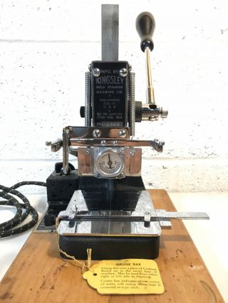 Very Vintage Kingsley Gold Stamping Machine Hot Foil Stamping - Usa Made