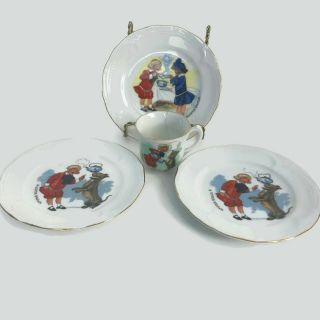 Antique Buster Brown Tige Mary Jane Porcelain Childs Tea Cup 3 Plates Germany B9