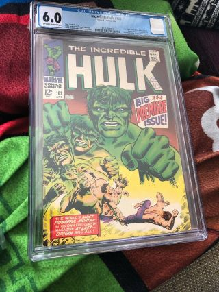 The Incredible Hulk 102 Cgc 6.  0 Marvel Comics Apr 1968 Origin Of Hulk Retold