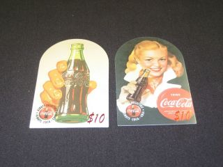 2 - 1995 Die Cut Coca Cola $10 Sprint Phone Cards By Score Board Real