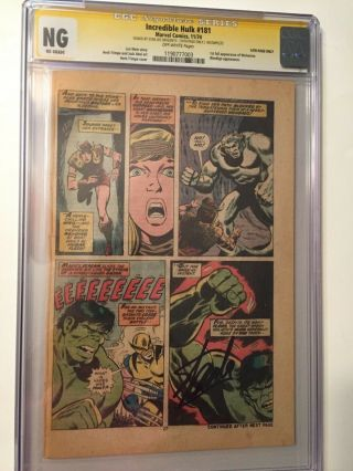 Incredible Hulk 181 Signed By Stan Lee 14th Page 1st Full App.  Wolverine