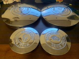 "Good Set Of 4 Vintage Chrome Wheel Horse Garden Tractor 6 "" & 12 "" Hub Caps"