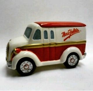 "Mrs.  Fields Ceramic Delivery Truck Cookie Jar Quill 9 "" X 5 - 1/2 "" X5 "" Red & White."