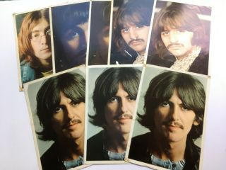 "Beatles Uk "" White Album "" 8 1968 Photos (3 George 2 Ringo 2 Paul 1 John)"