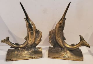 Vtg Heavy Metal Crafted Swordfish Marlin Bookends Boock Ends By Pm Craftman Htf