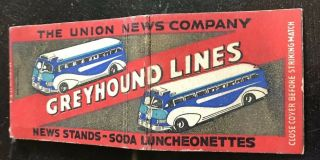 Matchbook Cover Greyhound Lines The Union News Company