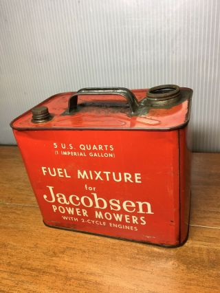 Vintage Jacobsen Power Mowers Fuel Mixture Gas Can 2 Cycle 1 Imperial Gallon