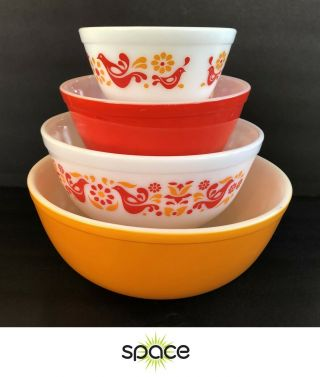 Set Of 4 Vintage Pyrex Friendship Mixing Bowls 401 403 403 404 - Nr
