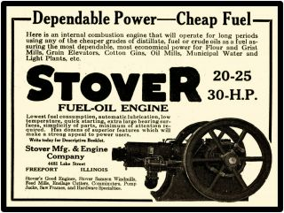 1919 Stover Mfg.  & Engine Co.  Metal Sign: Fuel Oil Engine Freeport,  Illinois