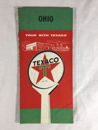 Vintage 1950's Texaco Road Map Ohio Gas Oil Service Station Filling