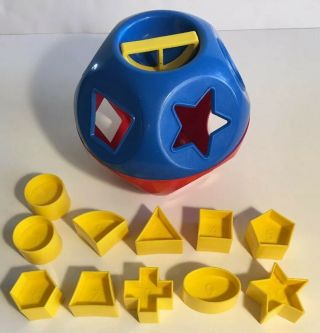 Tupperware Shape O Ball Sorter Rattle Toy Complete Tuppertoy Red Blue Yellow