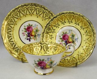 C1960s Vintage Yellow Paragon China Cabinet Cup & Saucer Hand Painted Gold Gilt