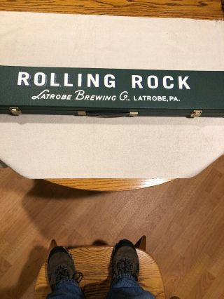 Rare Vintage Rolling Rock Pool Cue In Case Fantastic