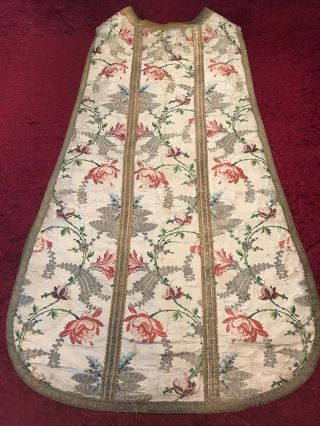 Antique 19th C European Christian Priest Silk Embroidered Chasuble Vestment 1