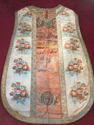 Antique 19th C European Christian Priest Silk Embroidered Chasuble Vestment 2