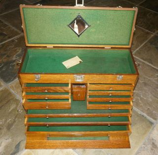 H.  Gerstner Machinist Tool Chest Oak Box Model 052 O52 11 Drawer