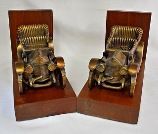 Antique Brass Early Model Automobile Bookends