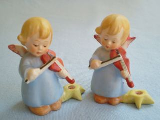 2 Vintage Hummel Germany Angels Playing Violins W.  Star Candle Holders Christmas