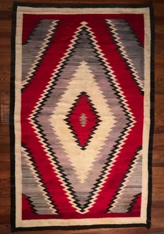 Large Navajo Classic Ganado Diamond Design Rug,  Purple Grey Background,  C1930,  Nr