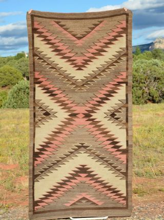 "Large Early Old Navajo Indian Rug - Serrated Design - 87 "" Long X 46 """