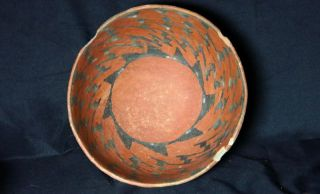 Anasazi / Puerco Black On Red Bowl Ca.  1200 Ad.  Intact With No Restoration