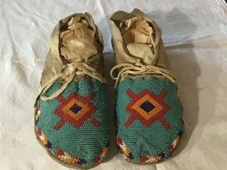 Native American Plains Indian Beaded & Hide Moccasins 1880 - 1900 Sioux,  Cheyenne
