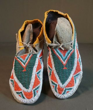 Late 19th Century Native American Sioux Fully Beaded Moccasins