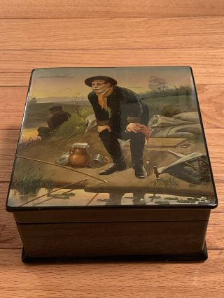 Vintage Fedoskino Russian Lacquer Large Hand Painted Fishing Stove Box