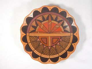 "Hopi Indian Pottery "" Surface Kachina "" Plate By Award Winning Stetson Setalla"