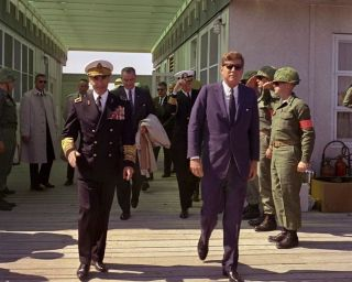 President John F.  Kennedy With Shah Of Iran At Camp Lejeune 8x10 Photo