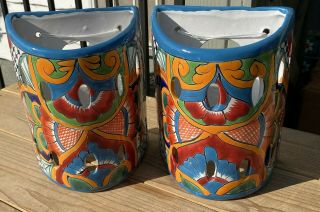 """2 Matching Talavera Pottery Wall Sconces Turquoise Red Gold 9 """" X 7 - 1/2 """" Wide"""