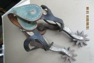 Western Cowboy Vintage 9 Point Spurs 1 3/4 Inch Rowel With Straps