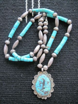 Vintage Native American Navajo Sterling Turquoise Heishi Bench Bead Necklace