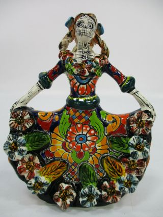 """7 """" Talavera Catrina With Dancing Dress,  Mexican Colorful Day Of The Dead Figure"""