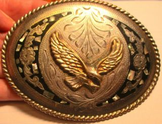 Vintage Hand Crafted Eagle Awesome Western Inlaid Belt Buckle Alpaca