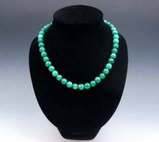 18 Inches Green Jade Beads Necklace 0.  9cm Beads Thickness 12251801