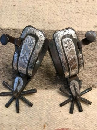 """Vintage Antique Hand Forged Mexican Charro Spurs - 3"""" Rowels.  Silver Inlay."""
