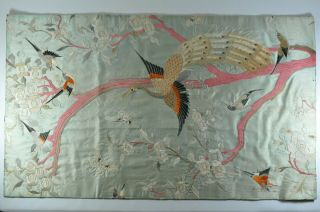 """33 """" W X 19.  5 """" H Fine Old China Chinese Silk Embroidery Embroidered Fabric Textile"""