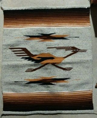 Southwest Native Or Mexican Hand Woven Rug - Road Runner 34x29