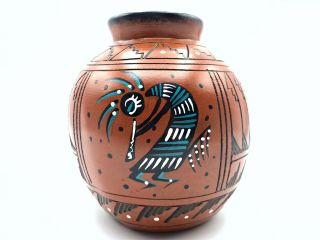 Native American Pottery Kokopelli Handmade Navajo Indian Etched Signed