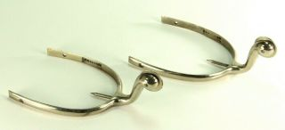 Antique Chrome Horse Riding Spurs Boot Heel Back Equestrian Western