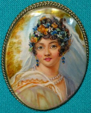 """"""" Young Josephine """" Hand Painted Fedoskino Mother - Of - Pearl Brooch"""