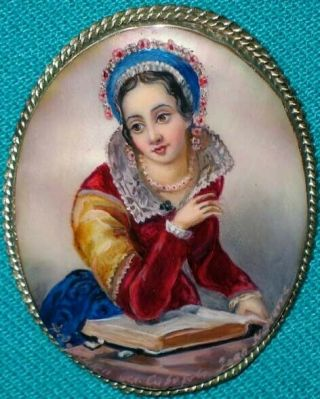 """"""" Queen Of Navarre """" Russian Hand Painted Fedoskino Mop Brooch"""