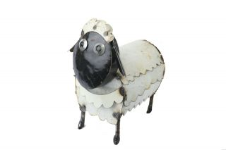 Recycled Metal Sheep - Small - Garden - Patio - Outdoors - 9wx14lx12h - Black And White