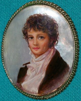 """Unique """" Mr.  Darcy """" Russian Hand Painted Fedoskino Mother - Of - Pearl Brooch"""