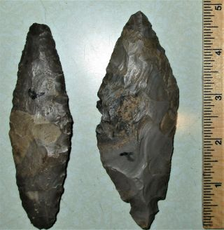 Cache Of 2 Hornstone Turkeytail Blades - Arrowheads - Authentic Indian Artifacts
