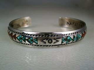 Old Nakai Navajo Sterling Silver & Turquoise Coral Inlay Rug Pattern Bracelet
