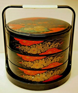 Asian 3 Tiers Stacking Lunch Box Black Lacquered Plastic By Jubako Bento